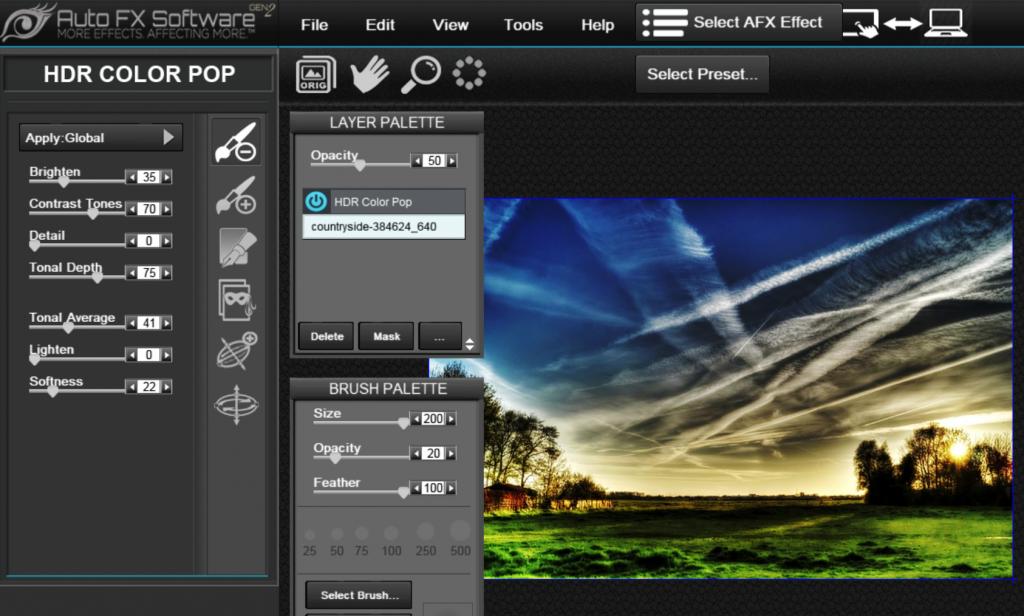okno główne programu autofx software z filtrem hdr